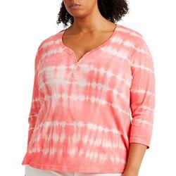Chaps Womens 3/4 Sleeve Tie Dye Henley Top