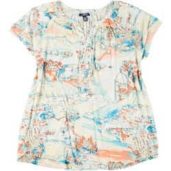 Chaps Plus Village Print Short Sleeve Top
