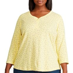 Chaps Womens Plus 3/4 Sleeve Floral Henley Top