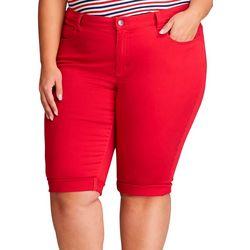 Chaps Womens Plus Palmer Twill Bermuda Shorts