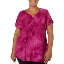 Sami & Jo Plus Embellished Fiesta Button Neckline Top