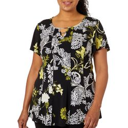 Sami & Jo Plus Floral Puff Print Double Keyhole Panel Top