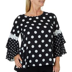 Sami & Jo Plus Dot Print Ruffled Bell Sleeve Top