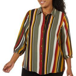 Sami & Jo Plus Mixed Stripe Print Button Down Top