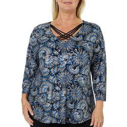 Sami & Jo Plus Abstract Sparkle Crisscross Neck Top