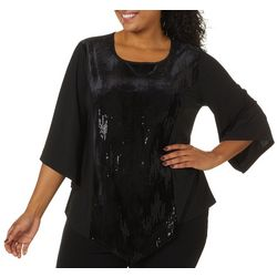 Sami & Jo Plus Solid Sequin Embellished Bell Sleeve Top