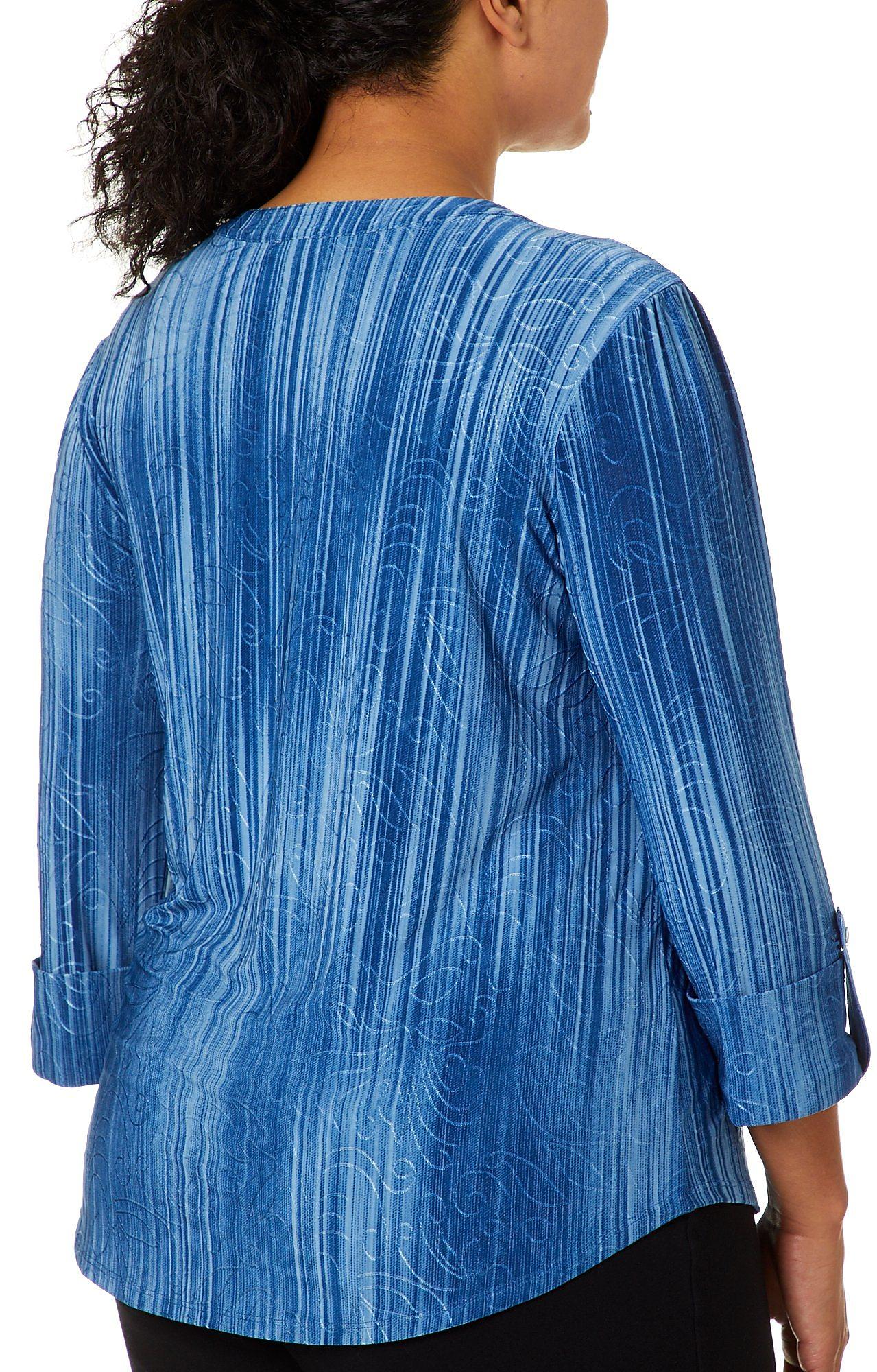 Sami /& Jo Plus Stripe Textured Scroll Henley Top