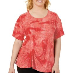 Plus Gathered Front Sequin Fiesta Top