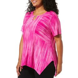 Sami & Jo Plus Textured Stripe Keyhole Top