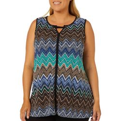 Sami & Jo Plus Chevron Puff Print Keyhole Sleeveless Top