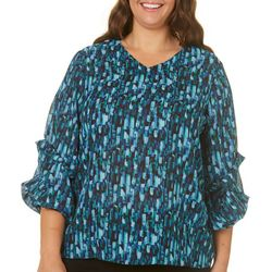 Sami & Jo Plus Abstract Gem Print Ruffle Sleeve Top