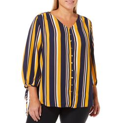 Sami & Jo Plus Vertical Stripe Button Down Top