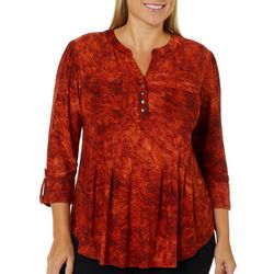 Sami & Jo Plus Mixed Floral Textured Henley Top
