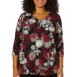 Sami & Jo Plus Floral Print Ring Neck Top