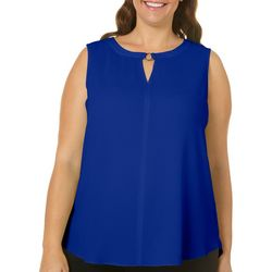 Sami & Jo Plus Ring Accent Notch Neck Tank Top