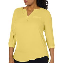Sami & Jo Plus Solid Faux Chest Pocket Top