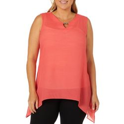 Sami & Jo Plus Beaded Keyhole Sharkbite Sleeveless Top
