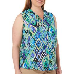 Sami & Jo Plus Diamond Print V-Neck Sleeveless Top