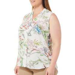 Sami & Jo Plus Floral Print High-Low Sleeveless Top