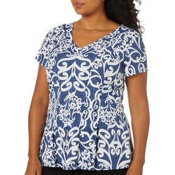 Plus Fit & Flare Scroll Print Top