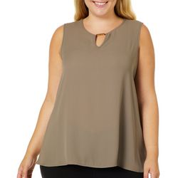 Sami & Jo Plus Solid Keyhole Gold Bar Sleeveless Top