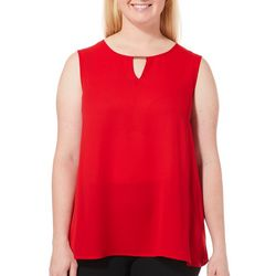 Sami & Jo Plus Solid Keyhole Bar Sleeveless Top