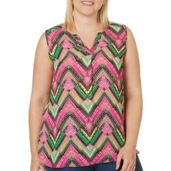 Sami & Jo Plus Chevron Print Split Neck Sleeveless Top
