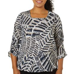 Sami & Jo Plus Graphic Chevron Print Square Neck Top