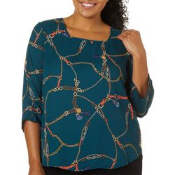 Sami & Jo Plus Chain Print Square Neck Top