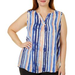 Sami & Jo Plus Brushstroke Striped High-Low Sleeveless Top