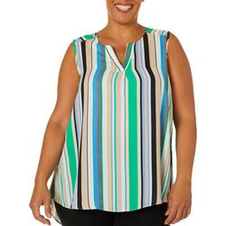 Sami & Jo Plus Vertical Striped High-Low Sleeveless Top