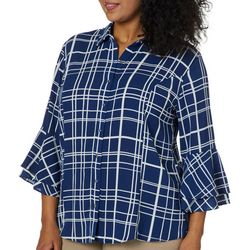 Sami & Jo Plus Checkered Bell Sleeve Button Down Top