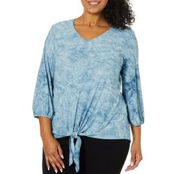 Sami & Jo Plus Embroidered Tie Dye Puff Sleeve Top