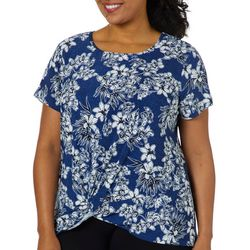 Sami & Jo Plus Floral Puff Print Knot Front Top