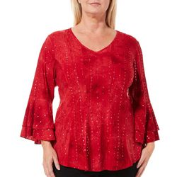 Sami & Jo Plus Gomez Embellished Ruffle Sleeve Top