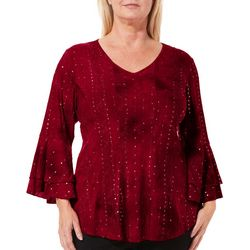 Sami & Jo Plus V-Neck Bell Sleeve Fiesta Top