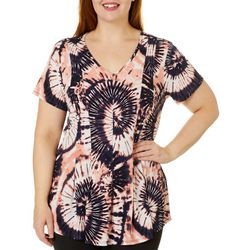 Sami & Jo Plus Fit & Flare Tie Dye Puff Print V-Neck Top