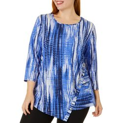Sami & Jo Plus Graphic Print Ribbed Button Detail Top
