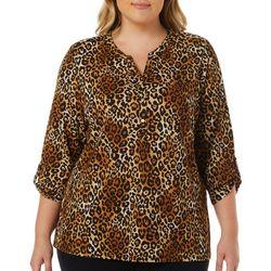 Cathy Daniels Plus Leopard Print Roll Tab Sleeve Top