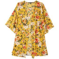 Zoey & Leelo Plus Feminine Floral Print Kimono