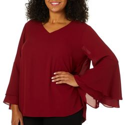 Premise Plus Solid Bell Sleeve Top