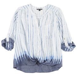 Zac & Rachel Plus Ombre Tie Dye Button Down Tie Front Top