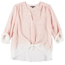 Plus Faded Stripe Button Down Tie Front Top
