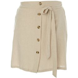 Zac & Rachel Plus Solid Faux Button Linen Skirt
