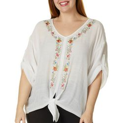 Zac & Rachel Plus Floral Embroidered Tie Front Top