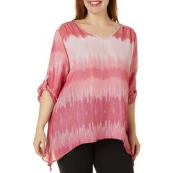 Zac & Rachel Plus Graphic Ombre Roll Tab Sleeve Top