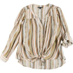Plus Striped Button Down Tie Front Top