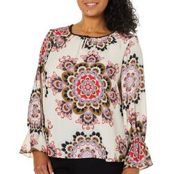 Zac & Rachel Plus Medallion Print Long Sleeve Top