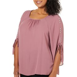 Zac & Rachel Plus Pearl Tie Sleeve Top