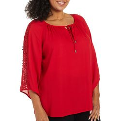 Zac & Rachel Plus Solid Crochet Sleeve Top